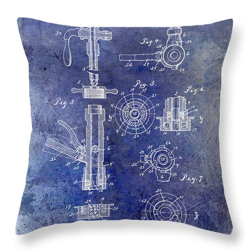 Beer Throw Pillow featuring the photograph 1903 Beer Tap Patent Blue by Jon Neidert