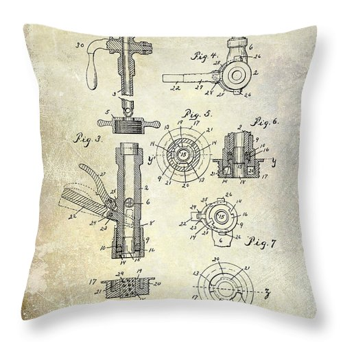 Beer Throw Pillow featuring the photograph 1903 Beer Tap Patent by Jon Neidert