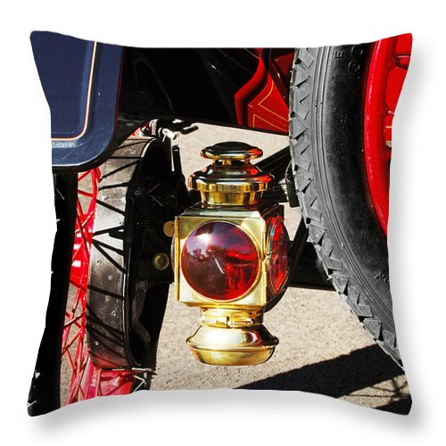 Horseless Carriage Throw Pillow featuring the photograph 1911 Ford Model T Torpedo Lamp by Jill Reger