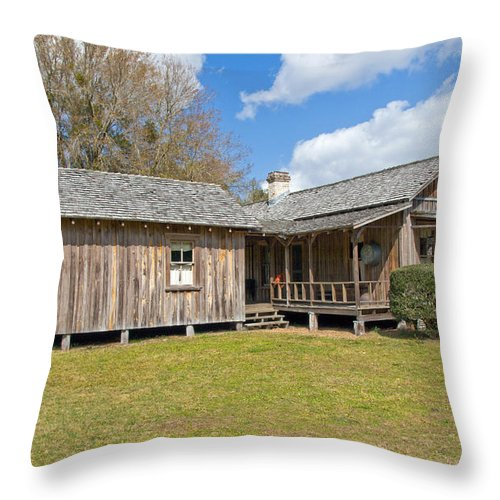 Cabin Throw Pillow featuring the photograph 1912 Simmons Farm In Christmas Florida by Allan Hughes