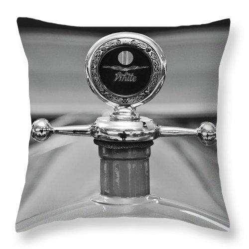1913 White Gentleman's Roadster Throw Pillow featuring the photograph 1913 White Gentlemans's Roadster Hood Ornament 2 by Jill Reger