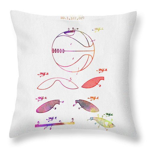 Basketball Throw Pillow featuring the digital art 1916 Basket Ball Patent - Color by Aged Pixel