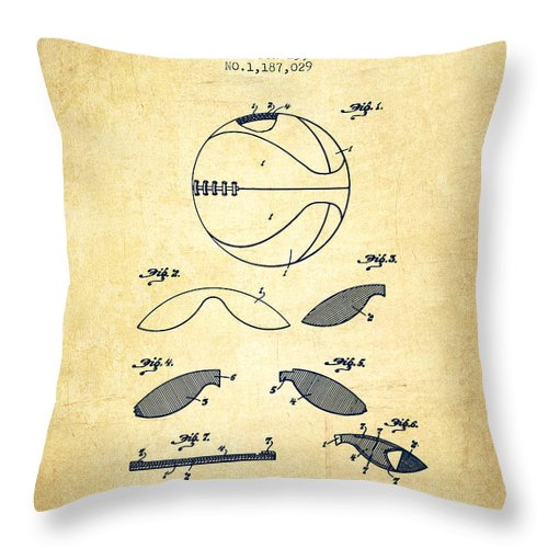 Basketball Throw Pillow featuring the digital art 1916 Basket Ball Patent - Vintage by Aged Pixel