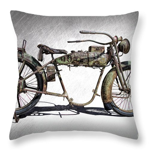 1918 Harley Davidson Motorcycle Frame Throw Pillow for Sale by Nick Gray