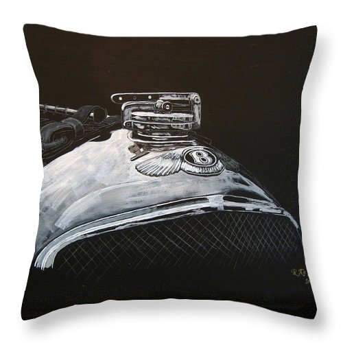 Bentley Throw Pillow featuring the painting 1928 Bentley Rad Cap by Richard Le Page