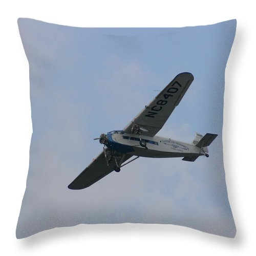 Air Throw Pillow featuring the photograph 1929 Ford Tri Motor Mail Plane Turning by David Dunham