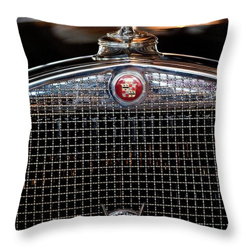 1930 Cadillac Roadster Throw Pillow featuring the photograph 1930 Cadillac Roadster Hood Ornament 3 by Jill Reger