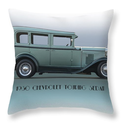 Automobile Throw Pillow featuring the photograph 1930 Chevrolet Touring Sedan by Dave Koontz