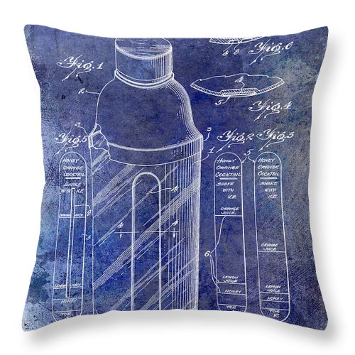 Martini Throw Pillow featuring the photograph 1930 Cocktail Shaker Patent Blue by Jon Neidert