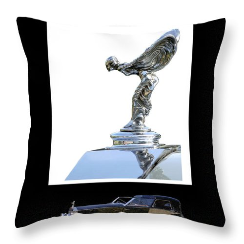 Large Format Prints Of Enhanced Automobile Photography. Framed Prints Of Rolls Royce Automobiles.framed Canvas Prints Of Luxury Rolls Royce Automobiles From The 1930\'s Prints Of Classic Rolls Royce Town Cars Of The 1030s Throw Pillow featuring the photograph 1930 Rolls Royce Mascot And Car by Jack Pumphrey