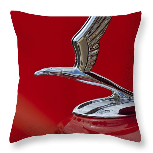 1933 Chevrolet Coupe Throw Pillow featuring the photograph 1933 Chevrolet Coupe Hood Ornament 2 by Jill Reger