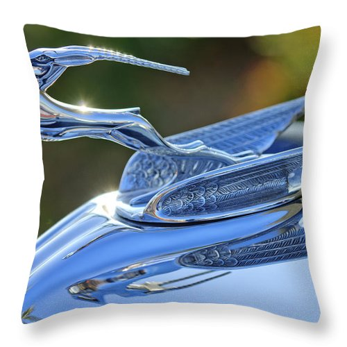 1933 Chrysler Imperial Throw Pillow featuring the photograph 1933 Chrysler Imperial Hood Ornament 2 by Jill Reger