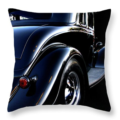 1934 Ford Coupe Throw Pillow featuring the photograph 1934 Ford Coupe Rear by Peter Piatt