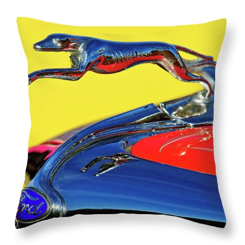 1934 Ford Throw Pillow featuring the photograph 1934 Ford Hood Ornament by Jill Reger
