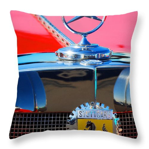 Transportation Throw Pillow featuring the photograph 1934 Mercedes Benz 500 K Roadster by Jill Reger