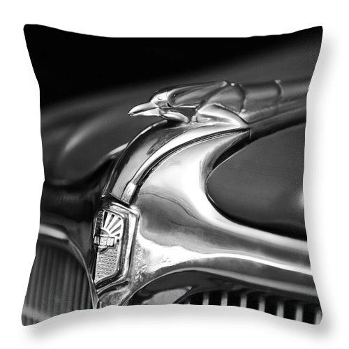 1934 Nash Ambassador 8 Throw Pillow featuring the photograph 1934 Nash Ambassador 8 Hood Ornament 2 by Jill Reger