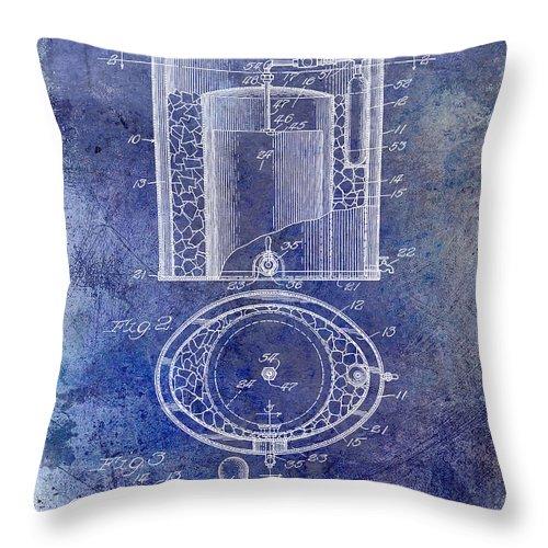 Beer Throw Pillow featuring the photograph 1935 Beer Equipment Patent Blue by Jon Neidert