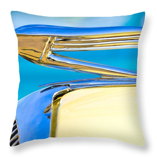 1936 Buick 40 Series Throw Pillow featuring the photograph 1936 Buick 40 Series Hood Ornament by Jill Reger