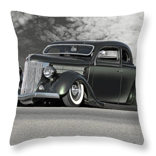 Auto Throw Pillow featuring the photograph 1936 Ford 'bug Crusher' Coupe by Dave Koontz