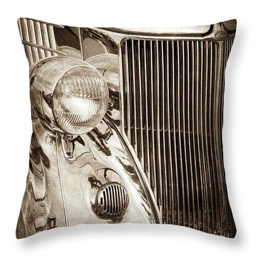 1936 Ford Stainless Steel Grille Throw Pillow featuring the photograph 1936 Ford Stainless Steel Grille -0376s by Jill Reger