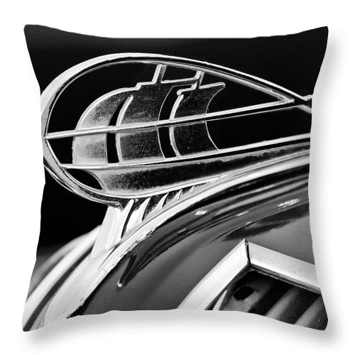1936 Plymouth Sedan Throw Pillow featuring the photograph 1936 Plymouth Sedan Hood Ornament 2 by Jill Reger