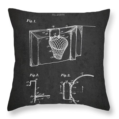 Basketball Throw Pillow featuring the digital art 1938 Basketball Goal Patent - Charcoal by Aged Pixel
