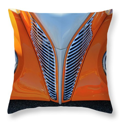 1939 Ford Throw Pillow featuring the photograph 1939 Ford Hot Rod Cvt Grille by Jill Reger