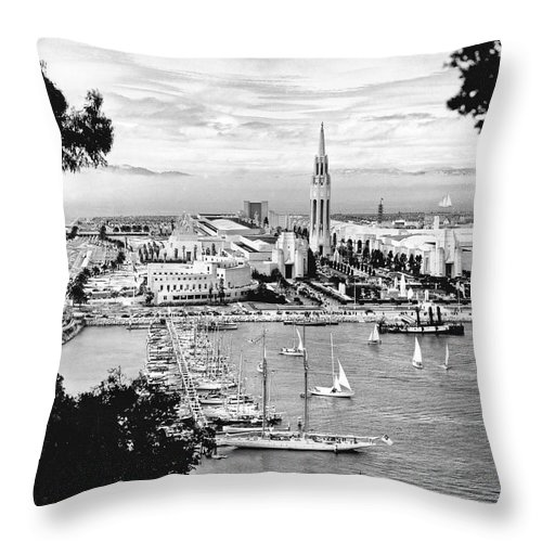 1930's Throw Pillow featuring the photograph 1939 Treasure Island View by Underwood Archives
