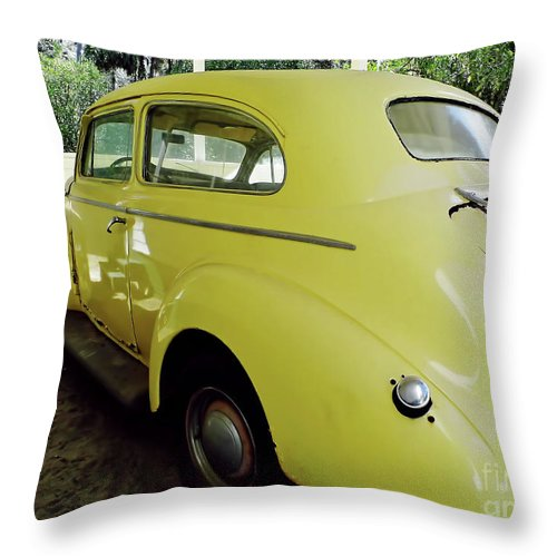 Marjorie Kinnan Rawlings Throw Pillow featuring the photograph 1940 Oldsmobile by D Hackett