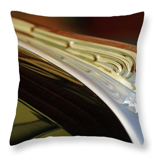 1941 Buick Eight Throw Pillow featuring the photograph 1941 Buick Eight Hood Ornament by Jill Reger