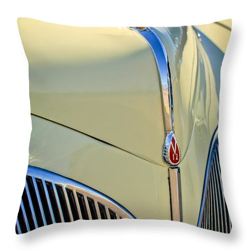 1941 Lincoln Continental Cabriolet V12 Throw Pillow featuring the photograph 1941 Lincoln Continental Cabriolet V12 Grille by Jill Reger