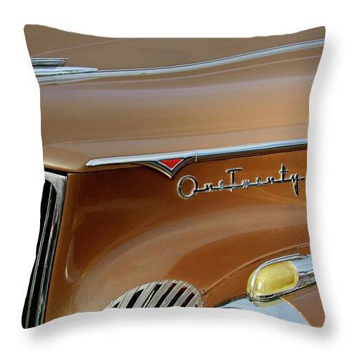 1941 Packard Throw Pillow featuring the photograph 1941 Packard Hood Ornament 2 by Jill Reger