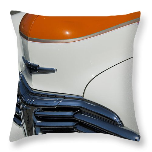 1947 Chevrolet Deluxe Throw Pillow featuring the photograph 1947 Chevrolet Deluxe Front End by Jill Reger