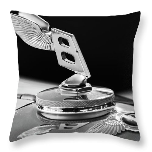 1948 Bentley Throw Pillow featuring the photograph 1948 Bentley Hood Ornament 3 by Jill Reger
