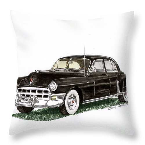 Framed Prints Of Cadillacs. Framed Canvas Prints Of Cadillac Fine Art. Famed Art Of Cadillac Hard Top Convertibles. Framed Art Of Great American Classic Cadillacs. Throw Pillow featuring the painting 1949 Cadillac Fleetwood Sedan by Jack Pumphrey