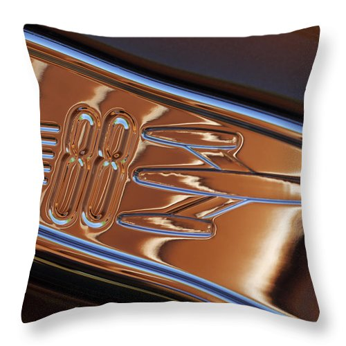 1950 Oldsmobile Rocket 88 Throw Pillow featuring the photograph 1950 Oldsmobile Rocket 88 Emblem 2 by Jill Reger