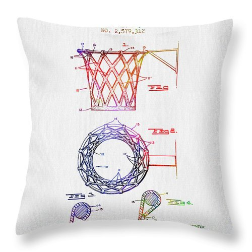 Basketball Throw Pillow featuring the digital art 1951 Basketball Goal Patent - Color by Aged Pixel
