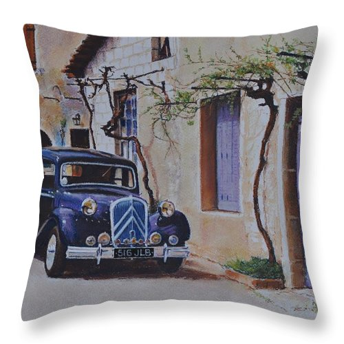 Classic Cars Throw Pillow featuring the painting 1951's Citroen by Iliyan Bozhanov