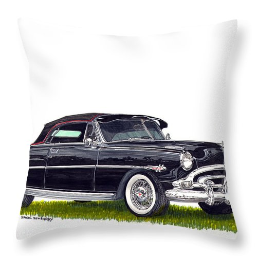 Framed Prints Of Great American Classic Cars Framed Canvas Prrnts Of Hudson Hornets Throw Pillow featuring the painting 1952 Hudson Hornet Convertible by Jack Pumphrey