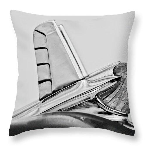 1953 Pontiac Throw Pillow featuring the photograph 1953 Pontiac Hood Ornament 2 by Jill Reger