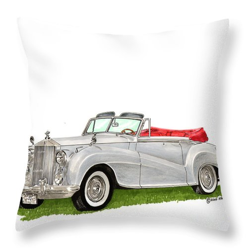 Classic Cars Of Europe Throw Pillow featuring the painting Rolls Royce Silver Dawn 1953 by Jack Pumphrey