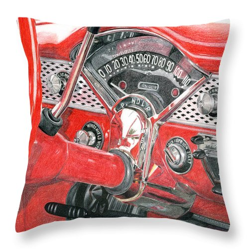 Classic Throw Pillow featuring the drawing 1955 Chevrolet Bel Air by Rob De Vries