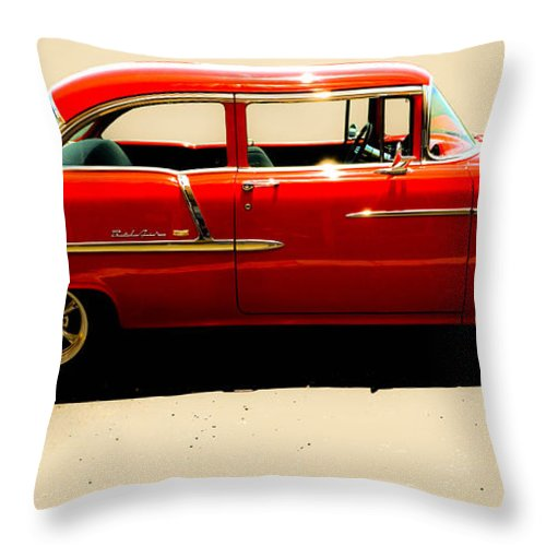 1955 Chevy Throw Pillow featuring the photograph 1955 Chevy by Tom Zukauskas