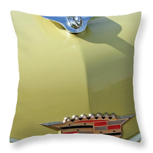 1956 Cadillac Sedan Throw Pillow featuring the photograph 1956 Cadillac Sedan Deville Hood Ornament by Jill Reger