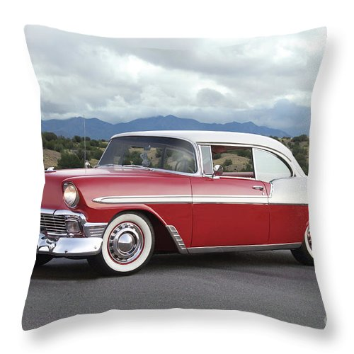 Automobile Throw Pillow featuring the photograph 1956 Chevrolet Bel Air Hardtop II by Dave Koontz