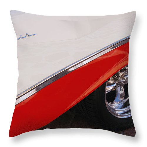 Chevy Throw Pillow featuring the photograph 1956 Chevrolet Belair Convertible Wheel by Jill Reger