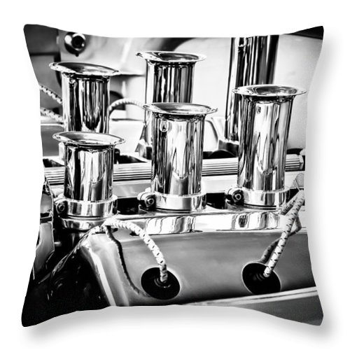 1956 Chrysler Engine Throw Pillow featuring the photograph 1956 Chrysler Hot Rod Engine by Jill Reger