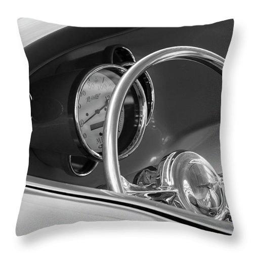1956 Chrysler Custom 2 Door Sport Wagon Throw Pillow featuring the photograph 1956 Chrysler Hot Rod Steering Wheel by Jill Reger