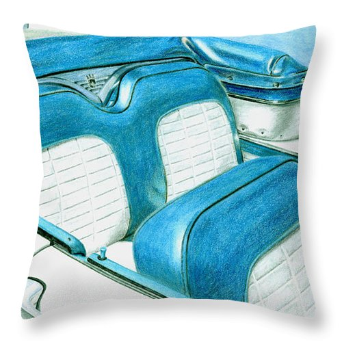 Americana Throw Pillow featuring the drawing 1956 Ford Fairlane Convertible 1 by Rob De Vries