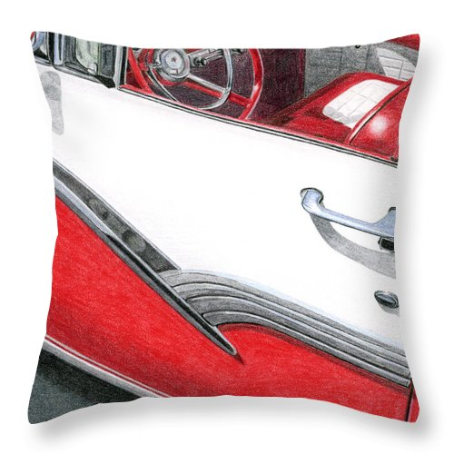 Americana Throw Pillow featuring the drawing 1956 Ford Fairlane Convertible 2 by Rob De Vries
